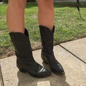 Durango Black Leather Cowboy Boot